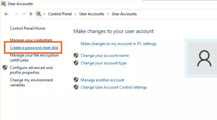 create password reset usb di windows 10
