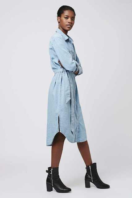 topshop denim shirt dress. denim midi dress, best denim shirt dress,
