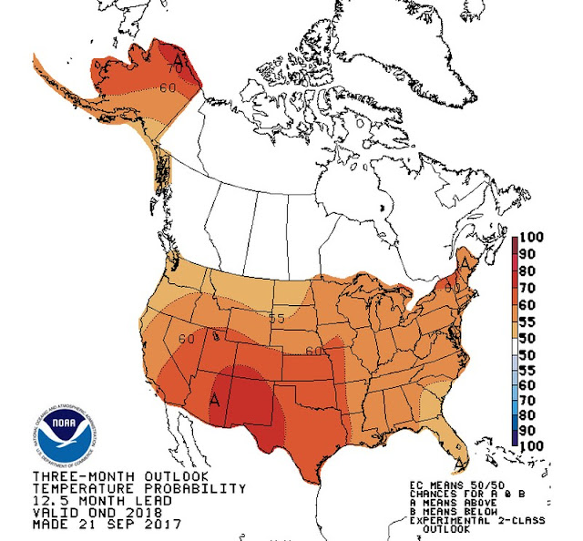 This NOAA map shows the three-month outlook for temperature probability 12 months in the future.