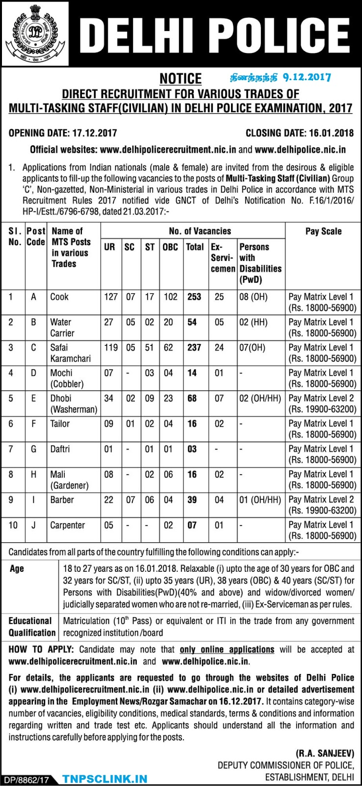 Delhi Police MTS Recruitment 2017-2018 (707 Vacancies)