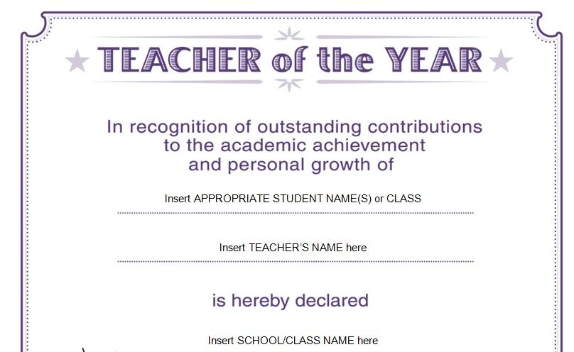 best teacher  teacher of the year award certificate design
