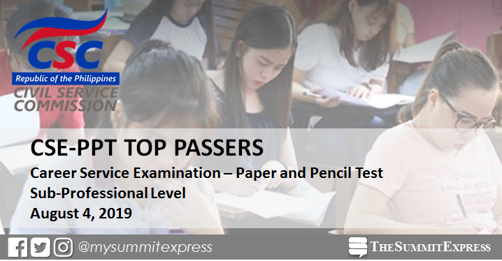 TOP 10 PASSERS: August 2019 Civil Service Exam Sub-Professional Level