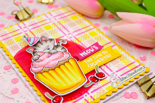 Kitty Cupcake Birthday Card by Ellen Haxelmans   Newton's Cupcake Stamp Set and Plaid Stencil Set by Newton's Nook Designs #newtonsnook #handmade