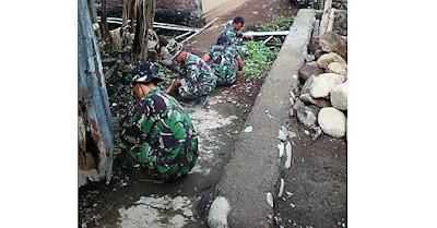 Pekerjaan TMMD Selesai, Satgas Bersih-bersih Lingkungan