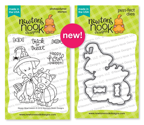 Happy Howl-oween | Dogs in Halloween costumes Stamp Set by Newton's Nook Designs #newtonsnook