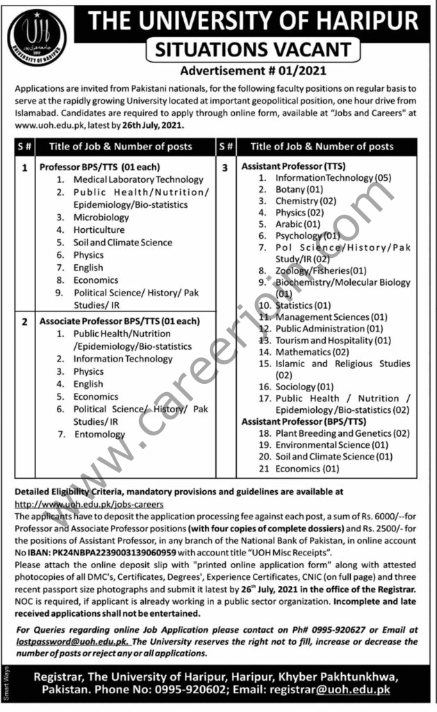 www.uoh.edu.pk/jobs-careers - The University Of Haripur Jobs 2021 in Pakistan