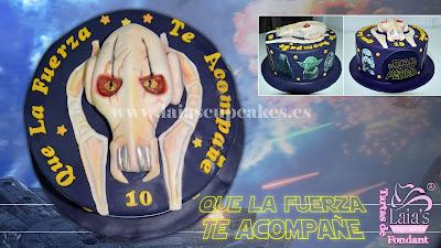 tarta personalizada fondant modelado 2d capitán grievuos star wars la guerra de las galaxias lado oscuro laia's cupcakes puerto sagunto