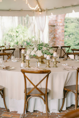 wooden cross back chairs at reception