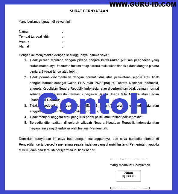 gambar contoh surat pernyataan 5 poin P3k guru