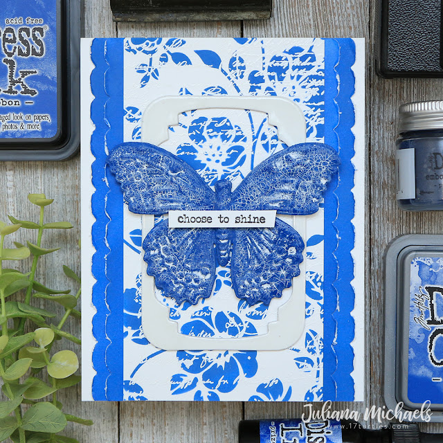 Choose To Shine Card by Juliana Michaels featuring Tim Holtz Prize Ribbon Distress Ink