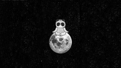 HD wallpaper Panda Meditating On Moon