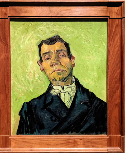 The cafe owner wears a formal suit and is painted on a lime green background.