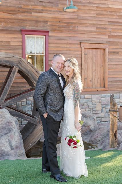 Shenandoah Mill Bride and Groom Portrait by waterwheel in Gilbert AZ