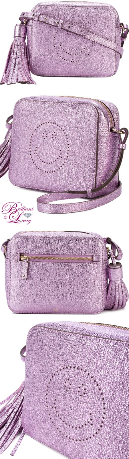 Brilliant Luxury ♦ Anya Hindmarch Metallic Purple Smiley Crossbody Bag
