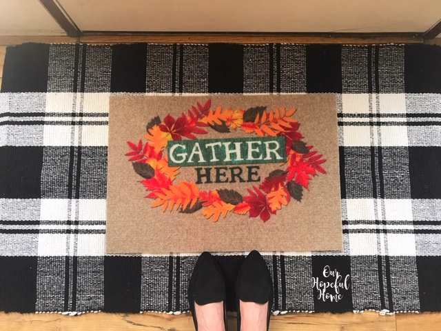 Gather Here door mat buffalo check throw rug