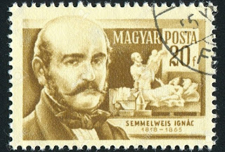 Homenaje a Semmelweis en un sello húngaro de 1954