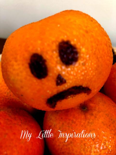 Centrotavola per Halloween con Mandarini - faccina 3 triste - MLI