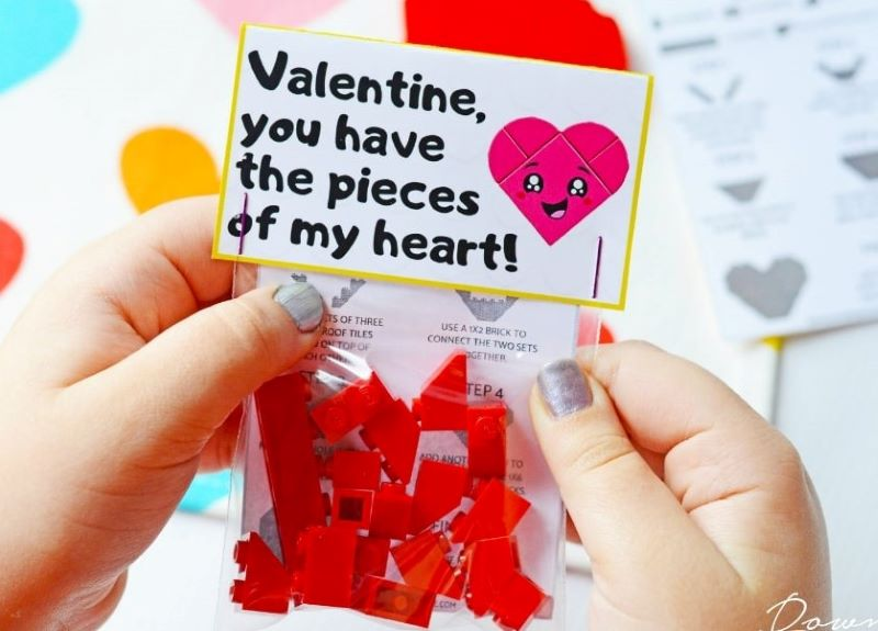 The cute homemade Lego Valentines will be a big hit for the kids