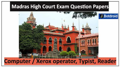 madras high court assistant previous question papers, Hall ticket 2019