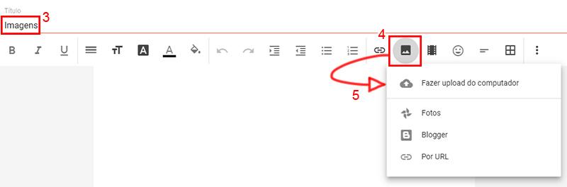 """Imagem mostrando tela de criar nova página, com título Imagens, indicando o botão """"adicionar imagens"""" e quatro opções em um quadro: fazer upload do computador, fotos, blogger ou por url"""