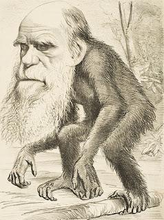Caricatura de Charles Darwin con cuerpo de mono