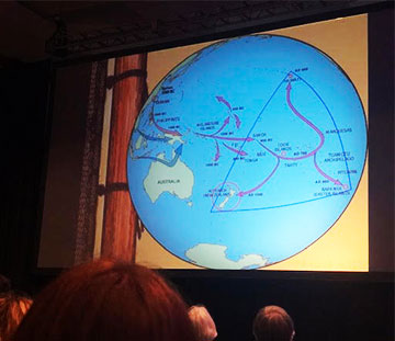 Chad Baybayan, U. of Hawaii, explores possible historical sailing routes at AAS 235 (Source: Palmia Observatory)