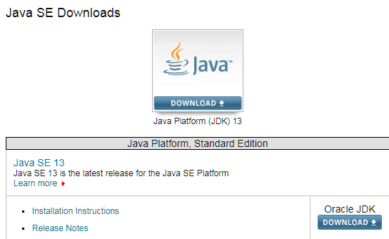 Download & Install Java Development Kit JDK 13