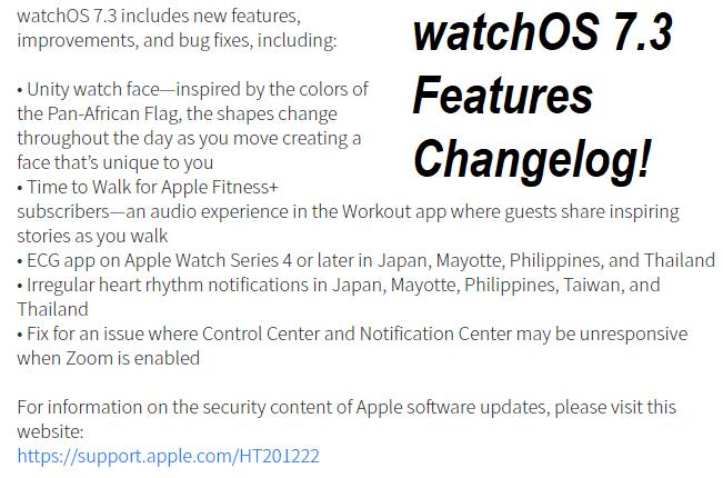 watchOS 7.3 Features