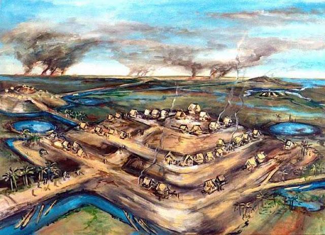Reconstituição artística de uma cidade amazônica precolombina, nos Llanos de Mojos, Bolívia
