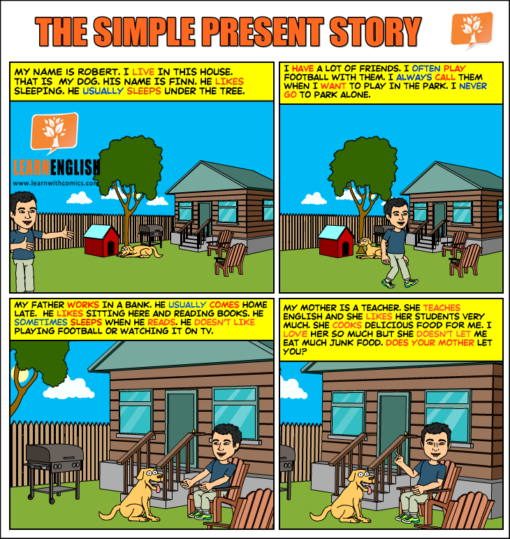 The simple present story | Learn English With Comics
