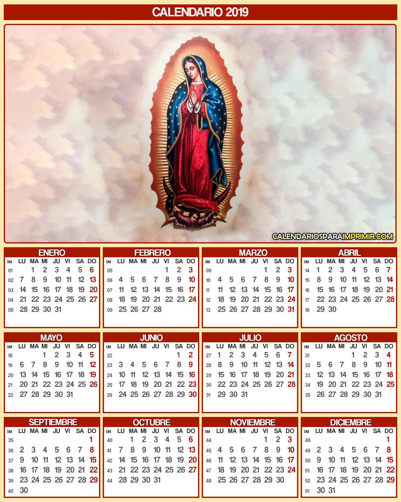 calendario 2019 virgen de guadalupe