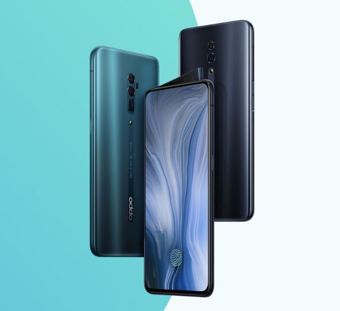 OPPO Reno product shot: available in Jet Black and Ocean Green.