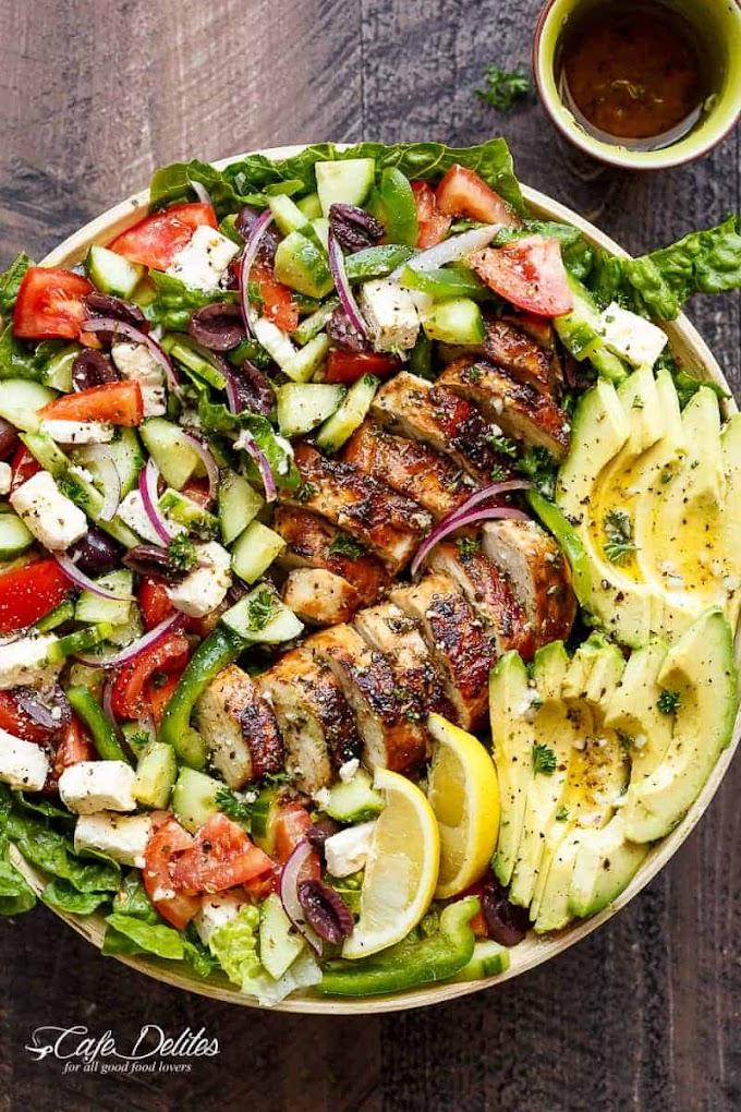 Loaded Greek Chicken Avocado Salad #dinner #easy #healthyrecipes #breakfast #chicken