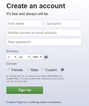 Creating Account on Facebook