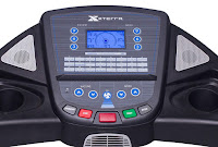 """Xterra Fitness TR300  Treadmill's console with 5.5"""" blue backlit LCD display, cooling fan & sound system, image"""