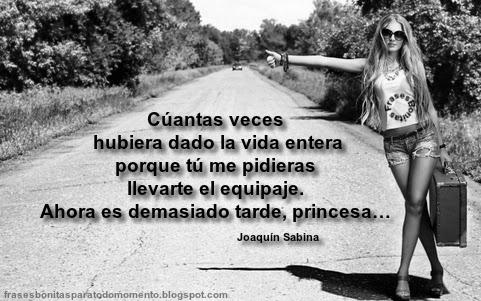 Cuántas veces hubiera dado la vida entera porque tú me pidieras llevarte el equipaje. Ahora es demasiado tarde, princesa… -Joaquín Sabina.