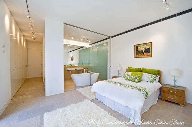 construindo minha casa clean quartos integrados com banheiros de vidros. Black Bedroom Furniture Sets. Home Design Ideas
