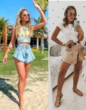 Tendência short jeans godê Thássia Naves, Thais Aguiar