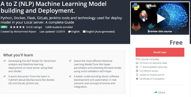 [100% Free] A to Z (NLP) Machine Learning Model building and Deployment.