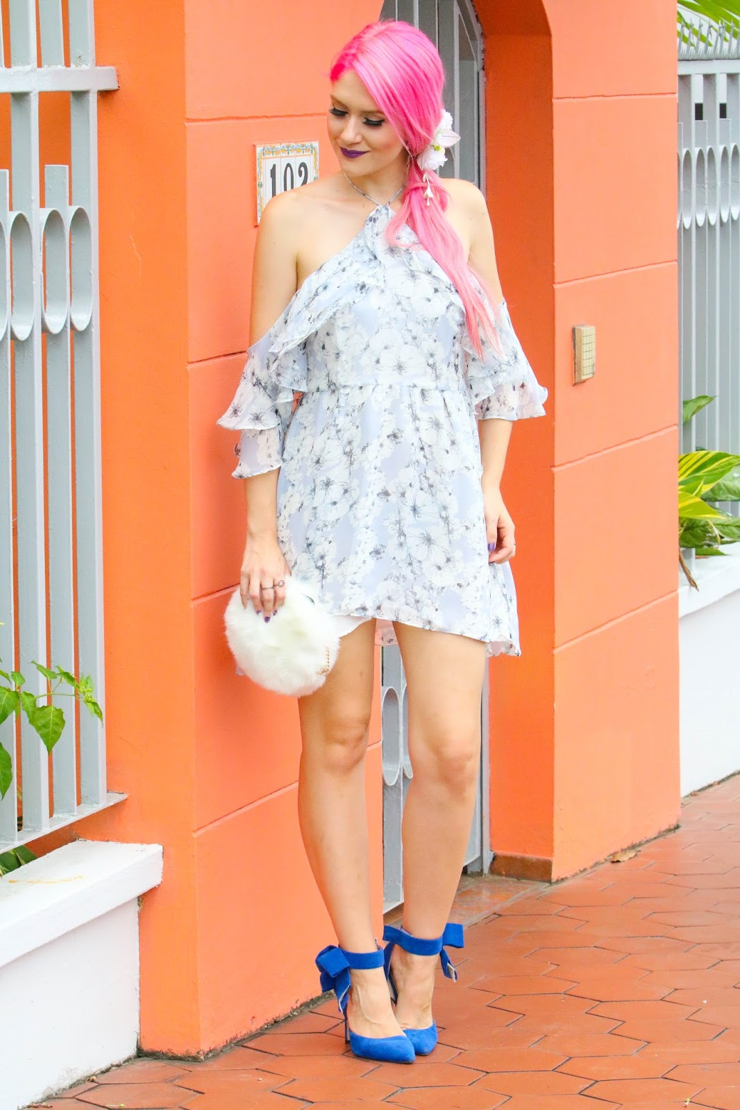 Pretty off shoulder floral dress outfit