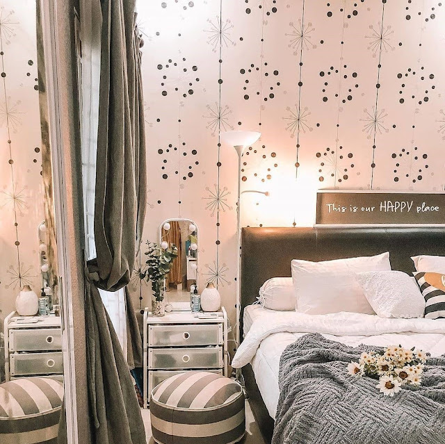 Motif Wallpaper Dinding Kamar Tidur Minimalis tapi Romantis Terbaru