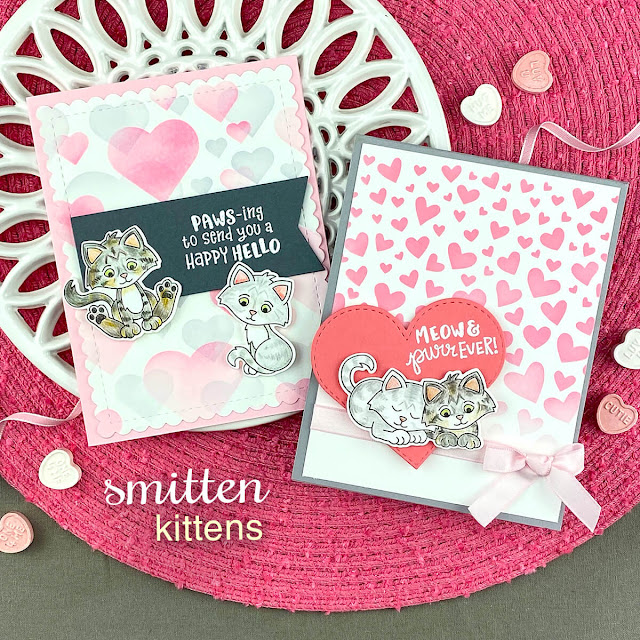 Kitten Valentine cards by Jennifer Jackson | Smitten Kittens Stamp set, Tumbling Hearts Stencil, Bokeh Hearts Stencil Set, Frames & Flags Die Set and Heart Frames Die Set Stencil by Newton's Nook Designs