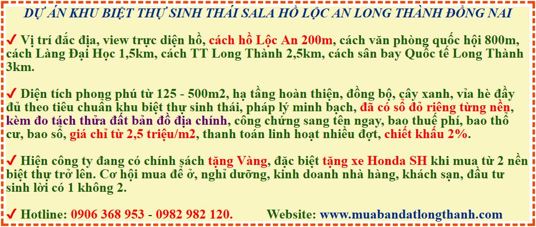 Đất nền dự án Khu biệt thự Sala Hồ Sinh Thái Lộc An Long Thành Đồng Nai