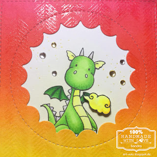 CLOSE UP MFT magical dragons birthdaycard with arrow ends background stamp and peek a boo window