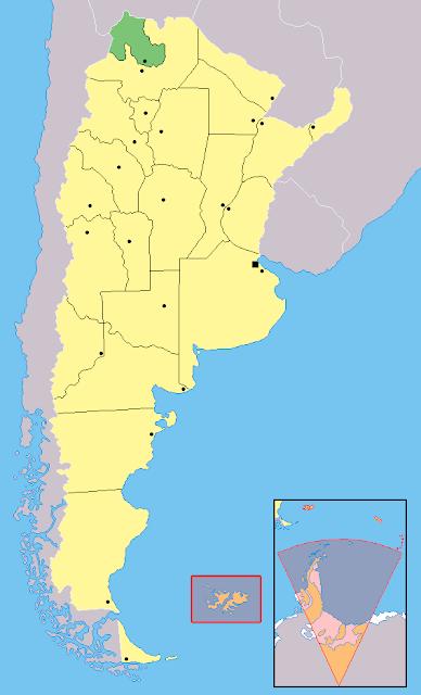 Mapa de localização da província de Jujuy - Argentina