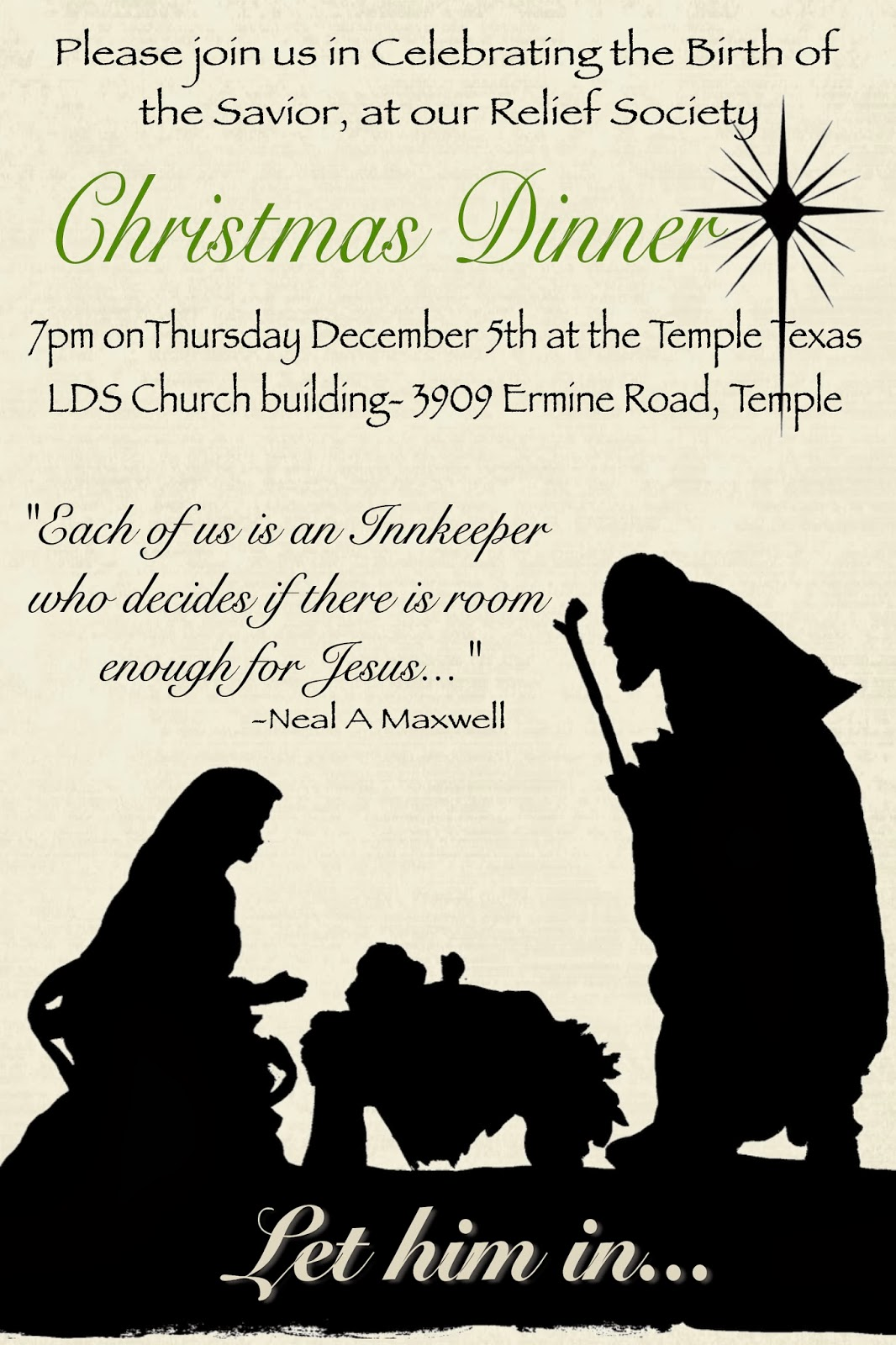 Sisters Of The Temple 2nd Ward Relief Society December Rs Meeting Let Him In Christmas Dinner