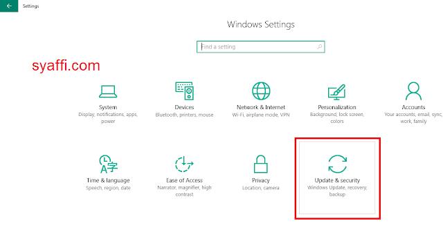 13. Update and Security pada Setting Windows 10