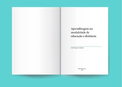 """Um das peças do meu portfolio: a simulação de uma livro aberto contendo o título """"aprendizagem na modalidade de educação a distância"""""""