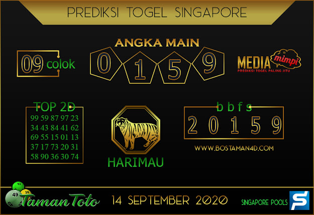 Prediksi Togel SINGAPORE TAMAN TOTO 14 SEPTEMBER 2020