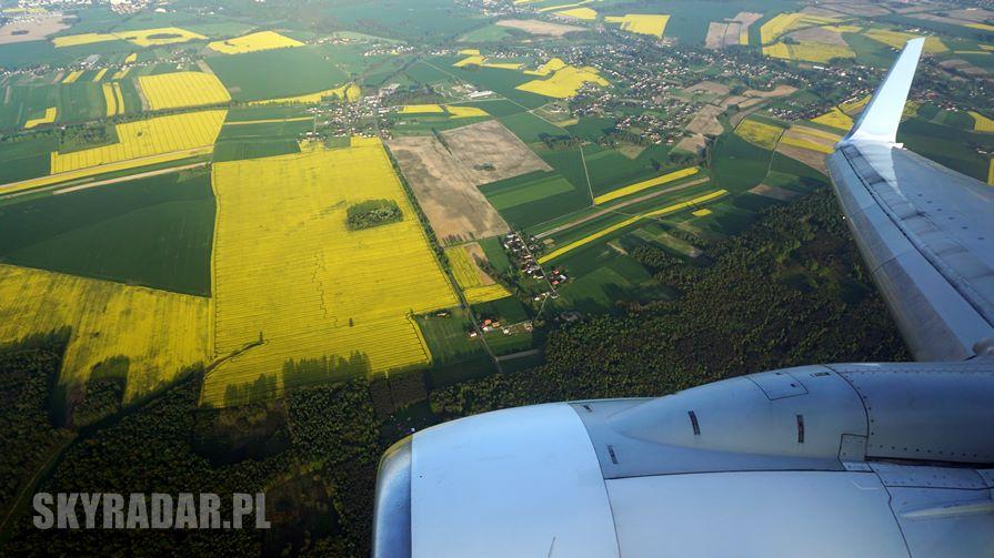 Pola rzepaku - Zdjęcie z samolotu